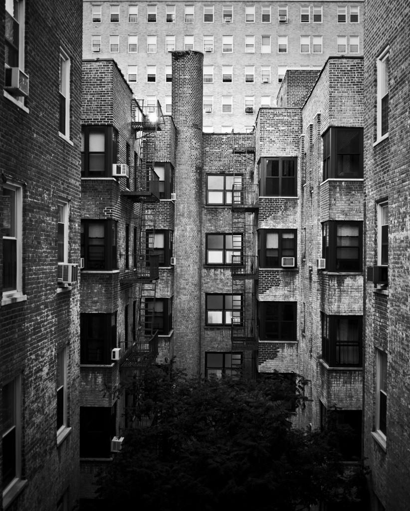 Courtyard at dusk, Park Slope, Brooklyn, New York