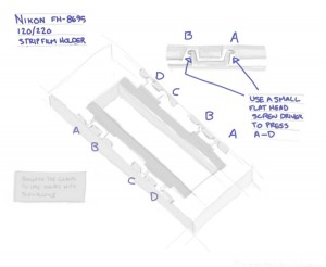 Diagram on how to modify the Nikon FH-8695 120/220 Strip Film Holder to work with Scan Science