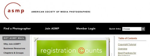 Screen shot of the ASMP website focusing on registration counts